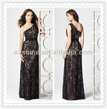 YBD10085 China Made Single shoulder Sleeveless Sheath Floor length black lace bridesmaid dresses lace overlay