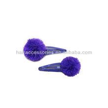 violet Knitting wool ball hair clips/hair grips