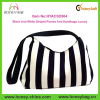 Fashion Black And White Striped Purses And Handbags Luxury Ladies Handbag Manufacturers
