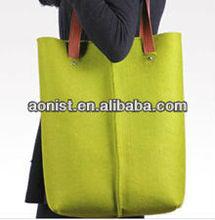 Felt bag Genuine Leather Handle Satchel Fashion Handbags Women Bags
