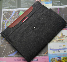 2013 new wool felt tablet cover flip leather case for ipad 5
