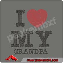 Custom Design I Love My Grandpa Wholesale Rhinestone Heat Transfers for Ts