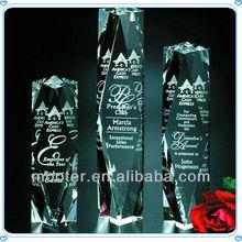 3D Engraved Laser Crystal Trophy Pillar For Souvenir Gifts