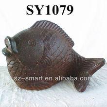 """20"""" rustic brass ceramic fish"""