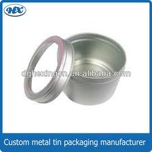 Plain color round tin box witn transparent window