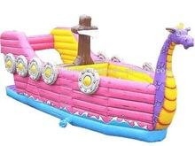animal shape ship inflatable bouncer and slide
