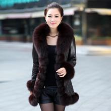 Women Sheep leather coat with fox fur collar