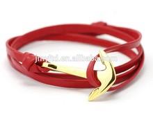 Adjustable Red leather anchor rope bracelet for men