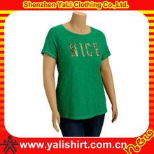 2015 fashion comfortable short sleeve beaded design fitness custom t-shirts no minimum