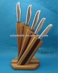 fish fillet knife with wooden block