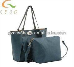 2013 Fashion PU Ladies Shopping Bag With One Smaller Bag & Zero Wallet