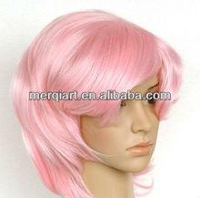 Short Pink babe wig 1920's style charleston short glossy
