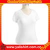 Custom summer cool white spandex v-neck short sleeve tight fit t-shirt for women
