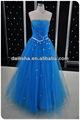 F167 novo estilo 2013 azul Tulle frisado azul royal e branco vestidos de casamento