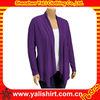 Custom fashion cheap elegant purple long drape open shirts design tall women clothing