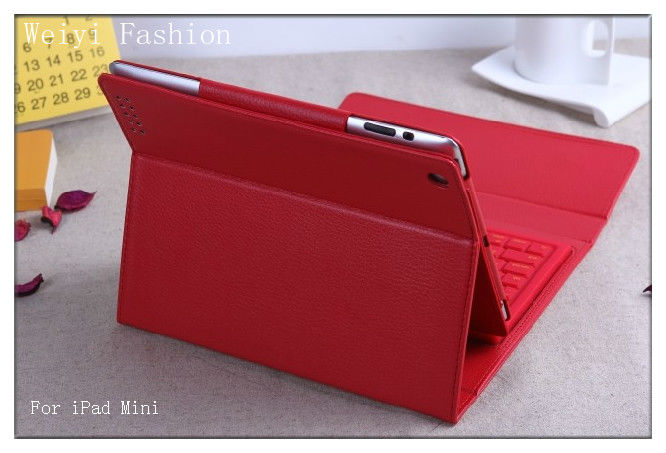 Wireless Bluetooth Keyboard Leather Case for iPad 4 Red