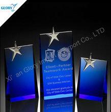 Blank Star Engraved Blue Yiwu Crystal Crafts