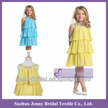 FLG008 A Line jewel neckline beads beadings diamond crystal knee length bchiffon light yellow flower girl dresses