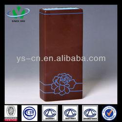 Square Shape Brown Ceramic Vase