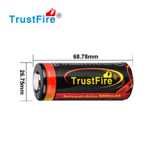 TrustFire 3.7V high recycle 6000mAh 32650 rechargeable batteries for e-hookah
