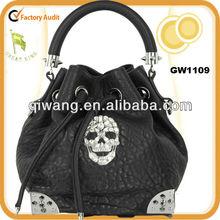 GW1109 Hippie sling hobo bag skull metal decorated leather shoulder bag for hippie girls