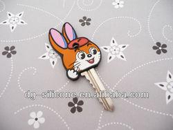 cheap custom 3d soft pvc little rabbit house key head cover wholesale