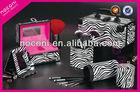 hot sale deluxe series aluminium zebra cosmetic case make up set bag with mirrior