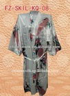 2013 wholesales chinese satin silk short style kimono robes,peacock pattern printed
