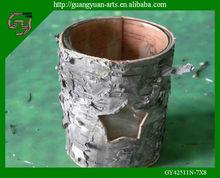 Écorce de bouleau naturel artisanat verre bougeoir