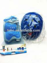 Blue kids safety helmet with protective pads