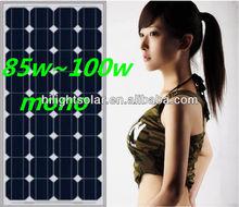 Best price power 90W solar panel mono, with TUV, IEC, CE, ISO