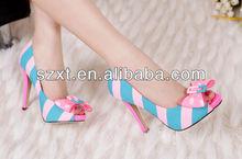 Nice bow high heel shoes fashion women's peep toe high heels pumps shoes 2015 new model lady high heel shoes