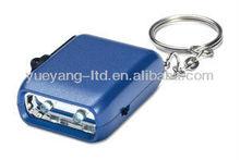 Hot Selling portable mini 2 Led Light Dynamo Keychain