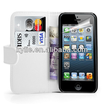 best quality hot selling wallet case for iphone 5