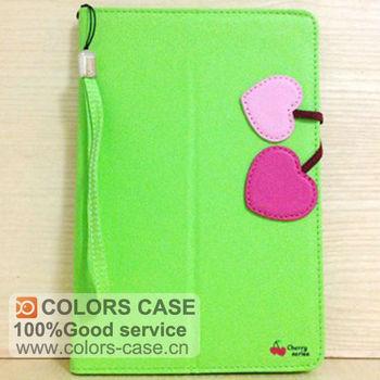 High quality Cute cherry bukle colorful flip cover PU case for ipad mini