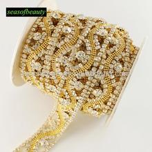 Wholesale Hot seller fancy decorative fake diamond Golden Rhinestone trims chains R2180J