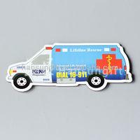 car shape promotional folded paper fridge magnet bookmark