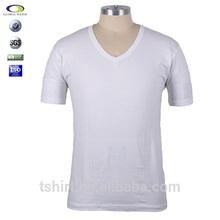 Cheap mens cotton plain white v-neck t shirts
