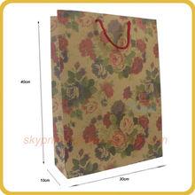 Retro flower printing coated paper gift bag shopping bag
