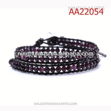 adjustable 2 wrap purple malay jade beaded for men New Product bracelet