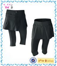 95% pima cotton 5% spandex woman wearing capri leggings with skirt