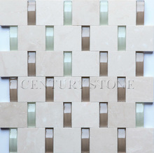 New product launch 3D glass tile and stone mixed mosaic , glass mix stone mosaic tile