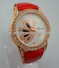 watch case leather travel butterfly lady watch fashion rhinestone watch
