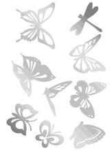 Butterfly Design PET Mirrored Sticker