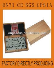 Domino of children games in wooden box