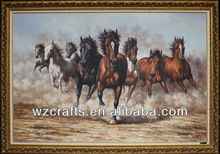 Handpainted Canvas Oil Painting of Eight Horses for Wall Decoration
