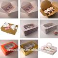 China fornecedor mini-decorativas caixas de cupcake para 6 unidades, custom bolo caixa de papel pacakging venda inteira, personalizado impresso