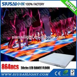 2015 china hot sale 864pcs 5mm 1m*1m led dance floor tiles/ led portable dance floor / make led dance floor
