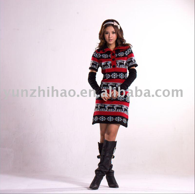 pattern dress for women's wear short sleeve sweater, View short