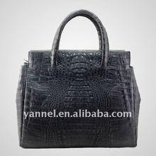 Newest Luxury black Crocodile skin lady tote_crocodile leather lady purse